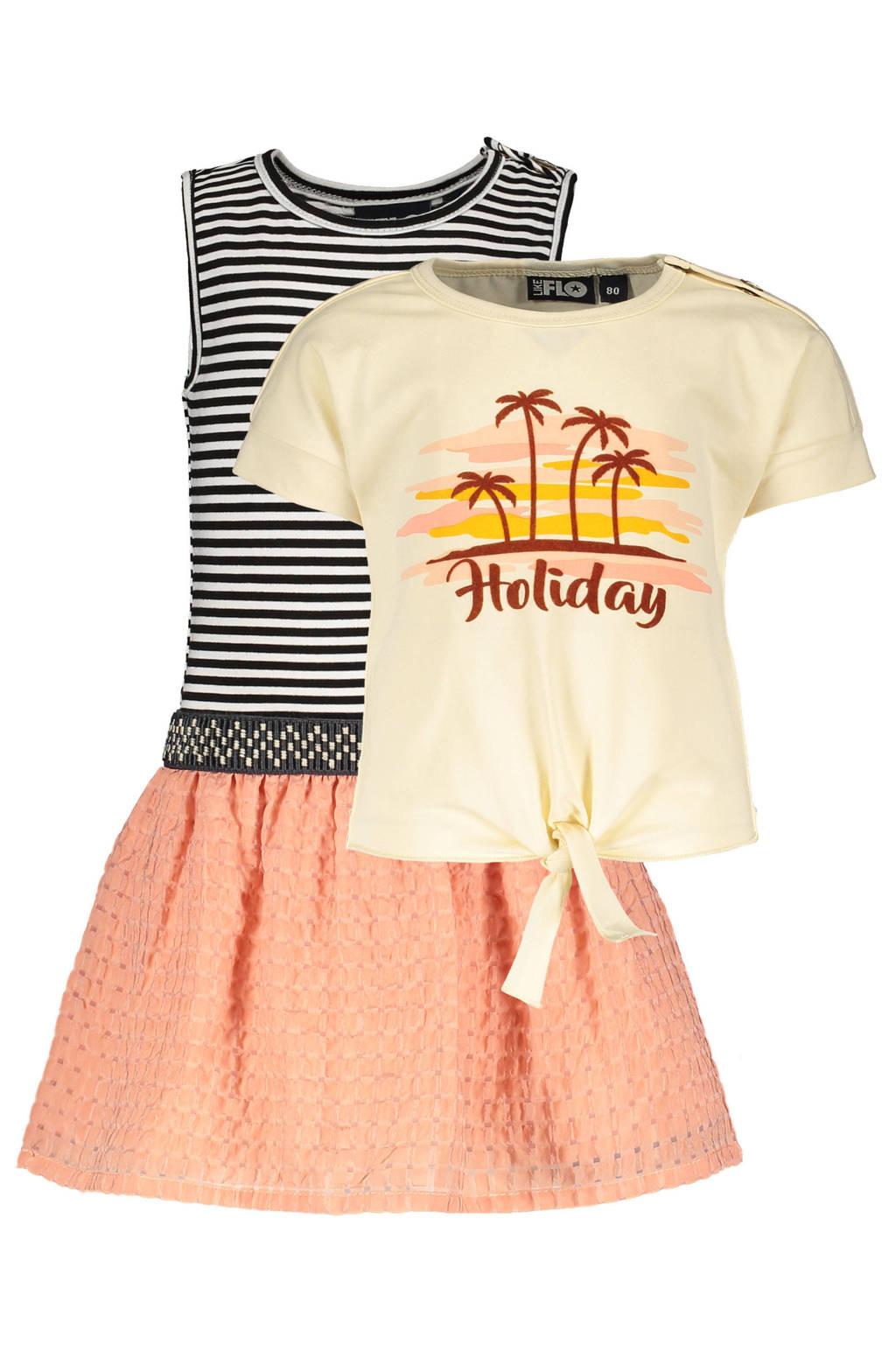 Like Flo jurk met losse top roze/zwart/ecru