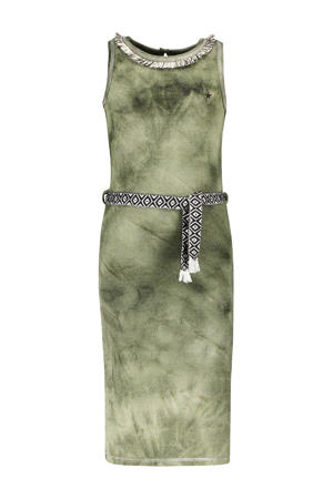 tie-dye maxi jurk army groen