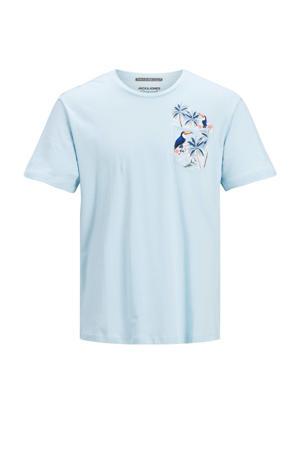 T-shirt Tropicana met printopdruk lichtblauw