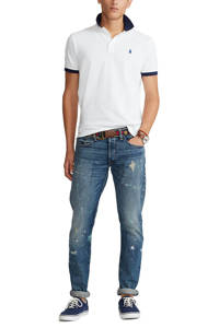 POLO Ralph Lauren slim fit polo met contrastbies wit/donkerblauw, Wit/donkerblauw