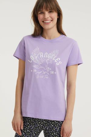 T-shirt JILL met printopdruk lila