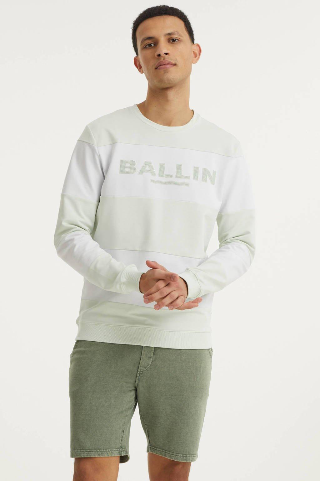 Ballin gestreepte sweater lichtgroen/wit, Lichtgroen/wit
