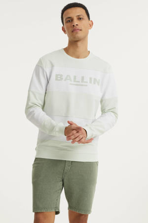 gestreepte sweater lichtgroen/wit