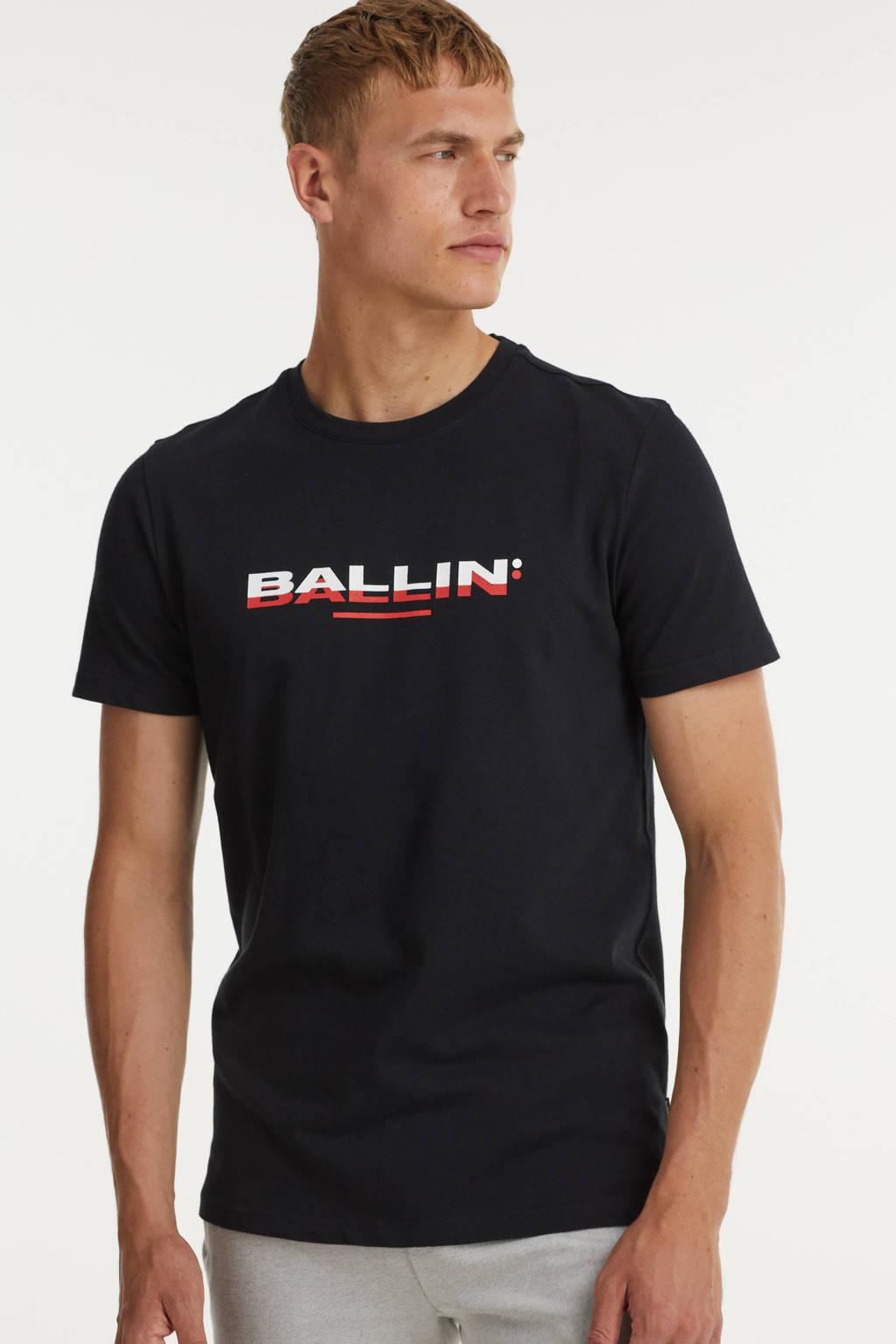 Ballin T-shirt met logo zwart, Zwart