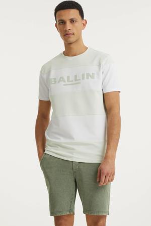 gestreept T-shirt lichtgroen/wit