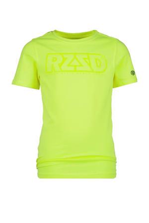 T-shirt Hamm met logo fel geel