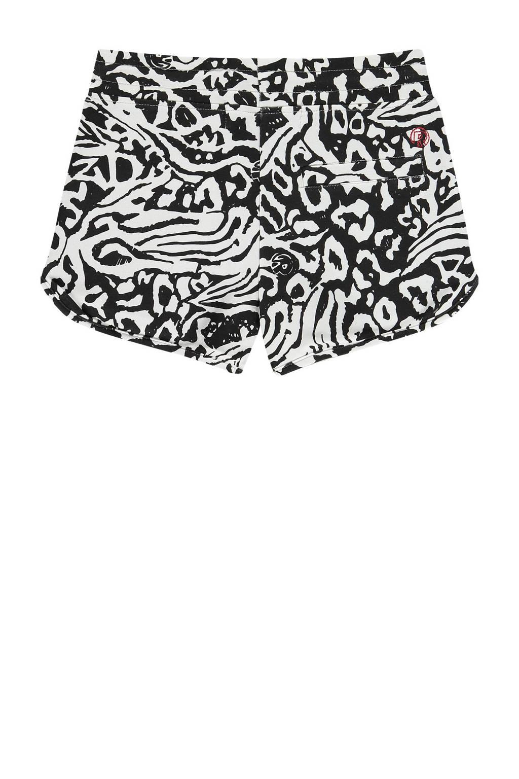 Raizzed sweatshort Auston met all over print zwart/wit, Zwart/wit