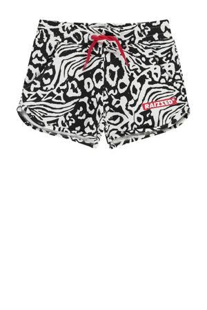 sweatshort Auston met all over print zwart/wit