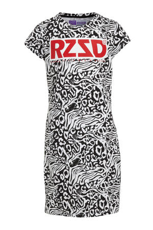 T-shirtjurk Malaga met all over print zwart/wit