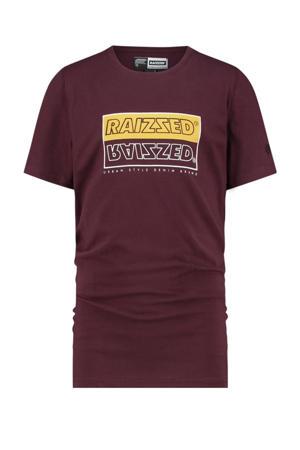 T-shirt Hadano met logo donkerrood