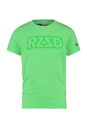 T-shirt Hamm met logo neon groen