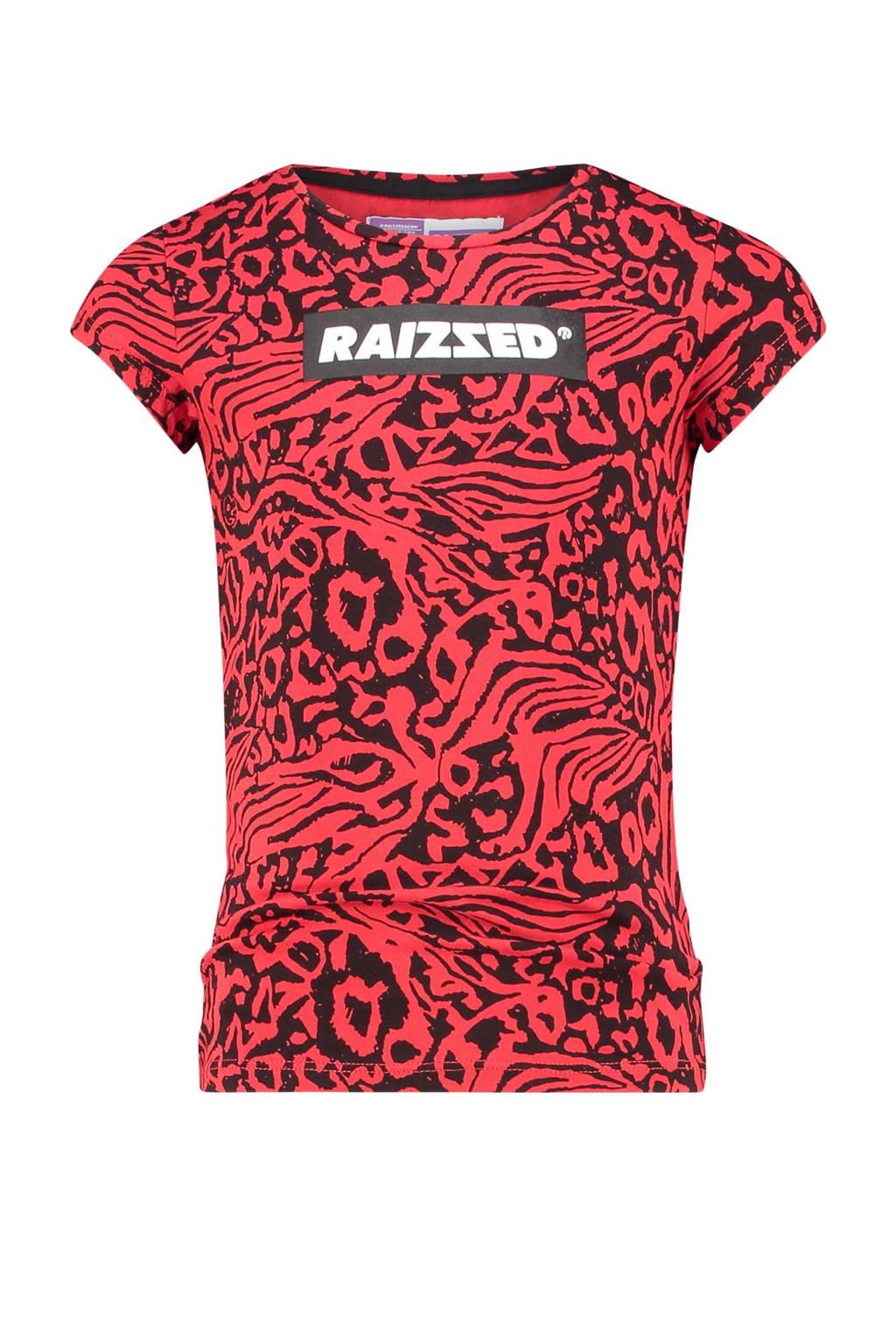 Raizzed T-shirt Toulouse met all over print rood/zwart, Rood/zwart