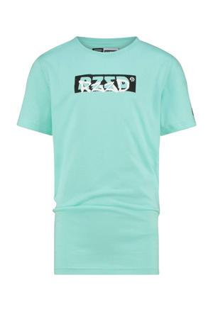 T-shirt Hagen met logo zacht aqua blauw