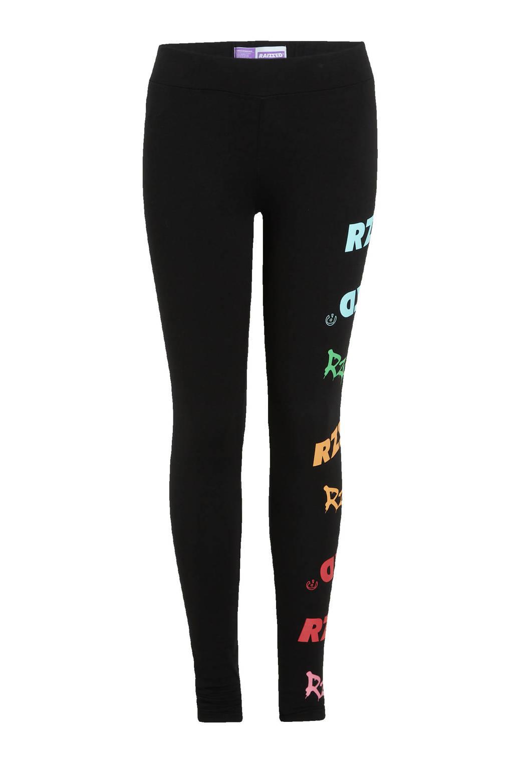 Raizzed regular fit broek Hangzhou met printopdruk zwart/multicolor, Zwart/multicolor