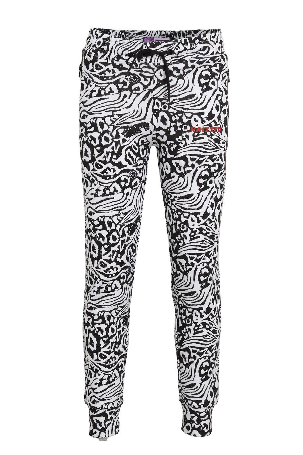 Raizzed tapered fit joggingbroek Lille met all over print zwart/wit, Zwart/wit