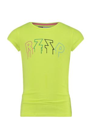 T-shirt Tulum met logo neon geel