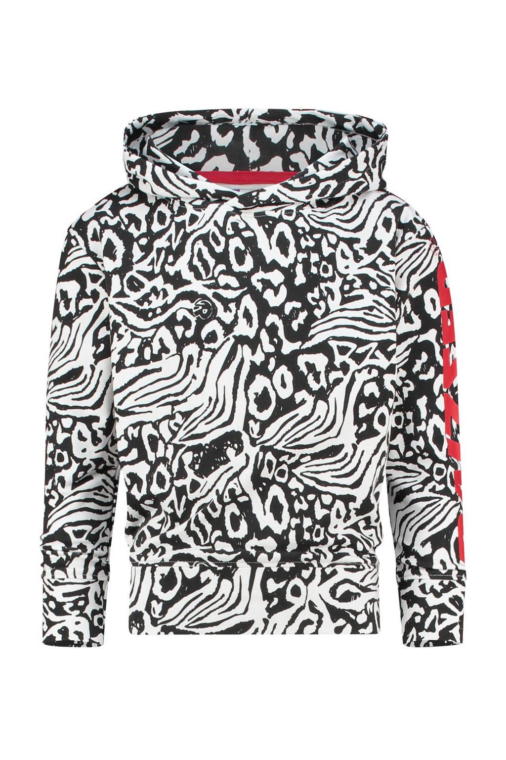 Raizzed hoodie Victoria met all over print zwart/wit, Zwart/wit