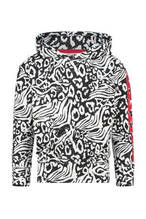 hoodie Victoria met all over print zwart/wit