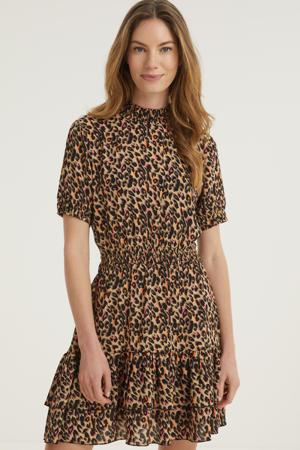 jurk INEZ Dress AOP Sand met all over print en volant bruin