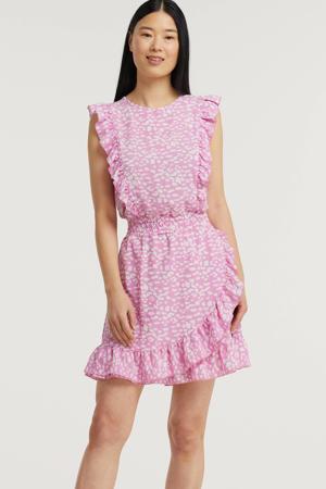 jurk XUXA Dress Light Pink met all over print en volant roze