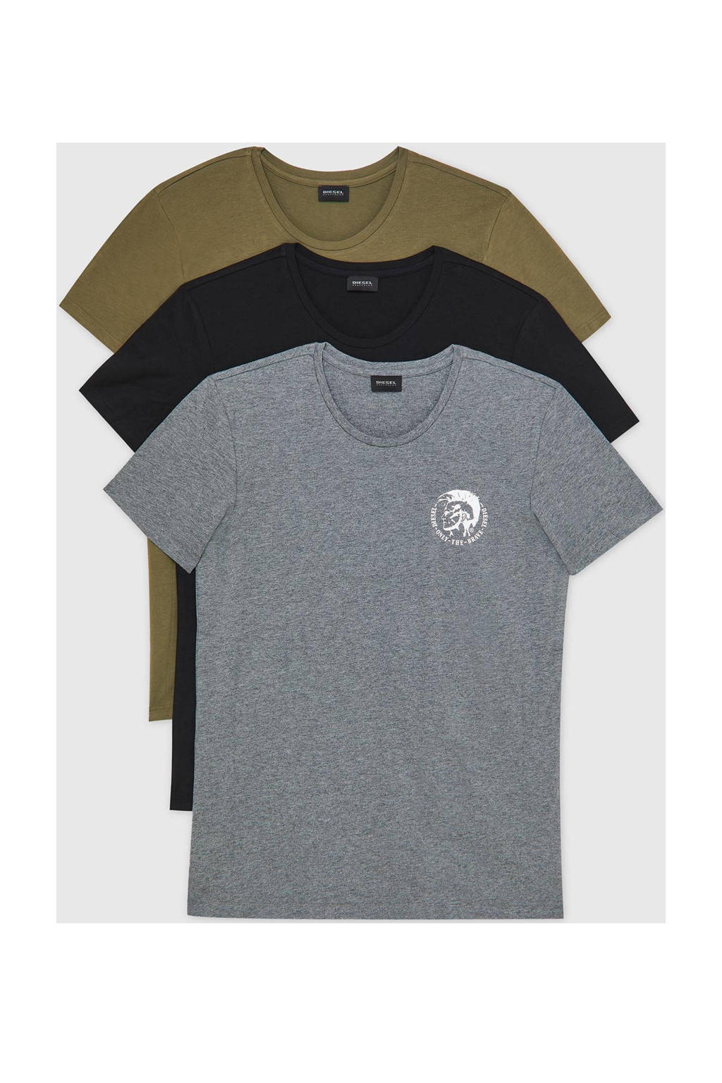 Diesel T-shirt - (set van 3), Groen/zwart/grijs