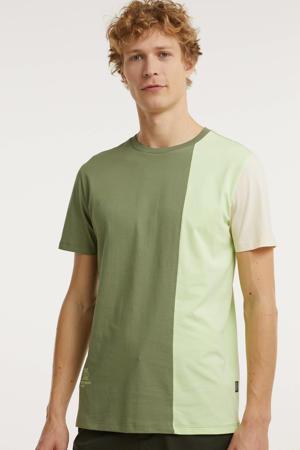 T-shirt van biologisch katoen groen/beige