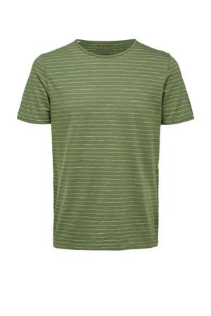gestreept T-shirt Morgan met biologisch katoen groen