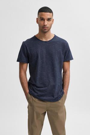 gestreept T-shirt Morgan met biologisch katoen donkerblauw