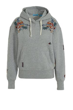 hoodie met borduursels grijs