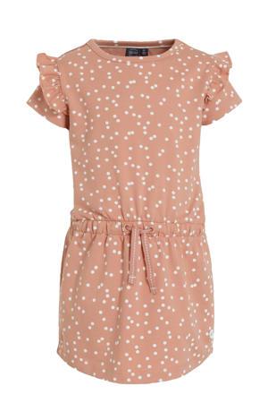 jurk met biologisch katoen oudroze/wit