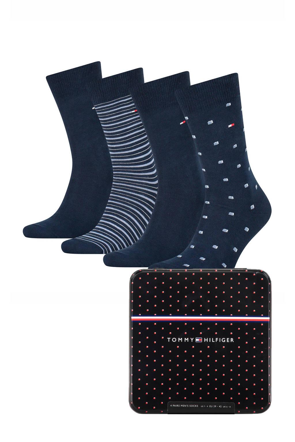 Tommy Hilfiger giftbox sokken - set van 4 donkerblauw, Donkerblauw