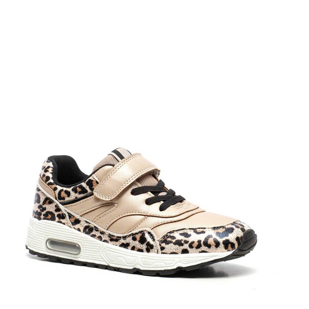 Scapino Blue Box   sneakers met panterprint goud, Goud/beige