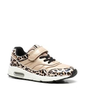 sneakers met panterprint goud
