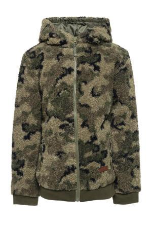 unisex fleece vest kaki/donkergroen