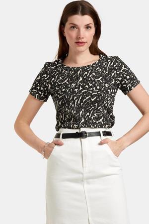 T-shirt Dany met all over print zwart