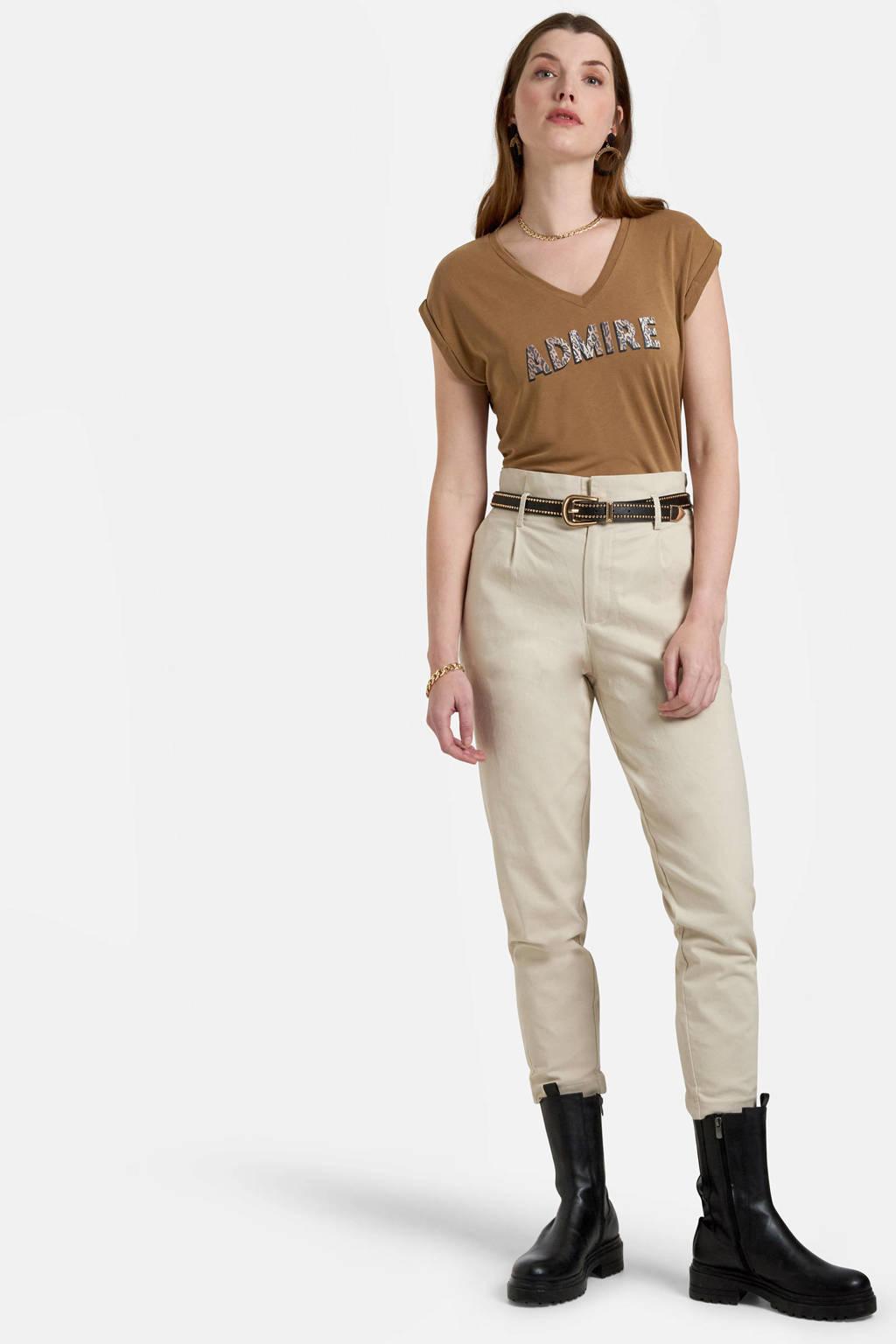 Eksept by Shoeby T-shirt Admire met tekst lightbrown, LIGHTBROWN