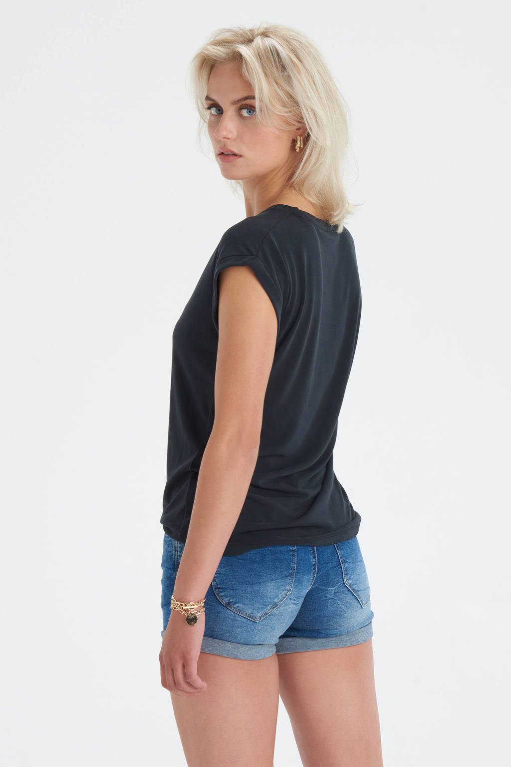 Eksept by Shoeby T-shirt Admire met tekst zwart, Zwart