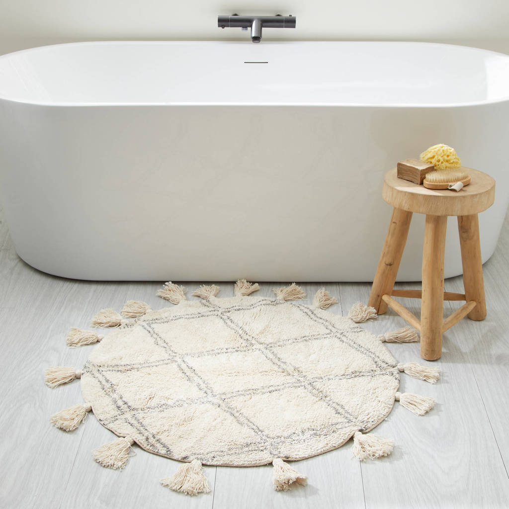 Wehkamp Home badmat (80x80 cm), Ecru, grijs