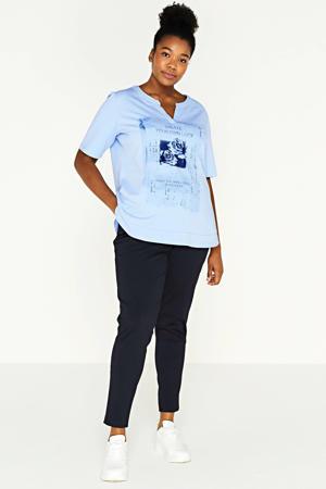 T-shirt met printopdruk lichtblauw/donkerblauw