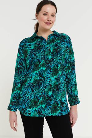 blouse met bladprint blauw/groen/zwart