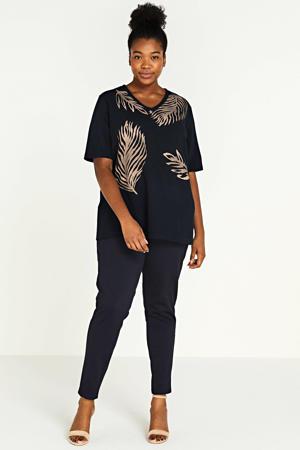T-shirt met bladprint donkerblauw/brons