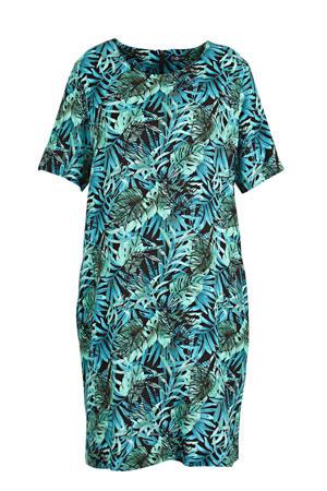 jurk met bladprint blauw/zwart/groen