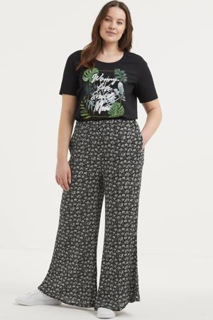 T-shirt met printopdruk en glitters zwart/groen/wit