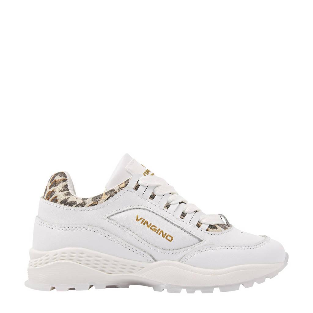 Vingino Fenna  leren chunky sneakers met panterprint wit, Wit/bruin