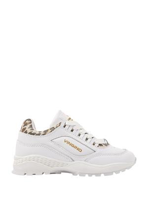Fenna  leren chunky sneakers met panterprint wit