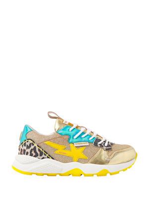 Zetta  sneakers met panterprint goud/multi
