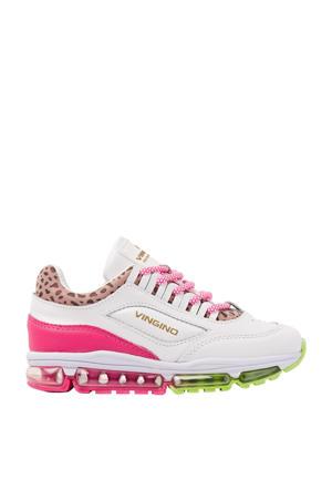 Fenna II  leren sneakers met panterprint wit/roze