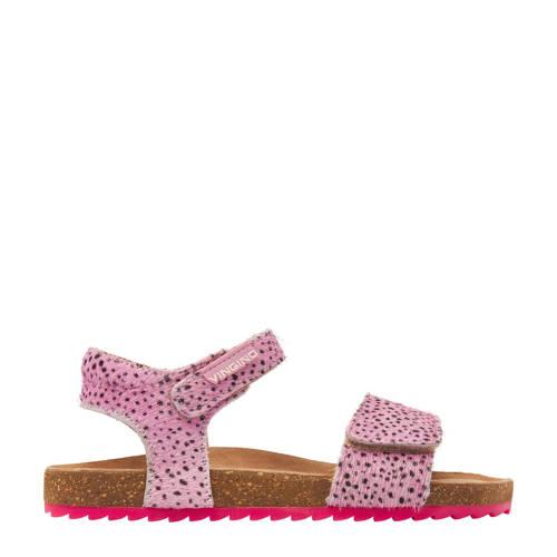 Vingino Tavi leren sandalen met dierenprint roze