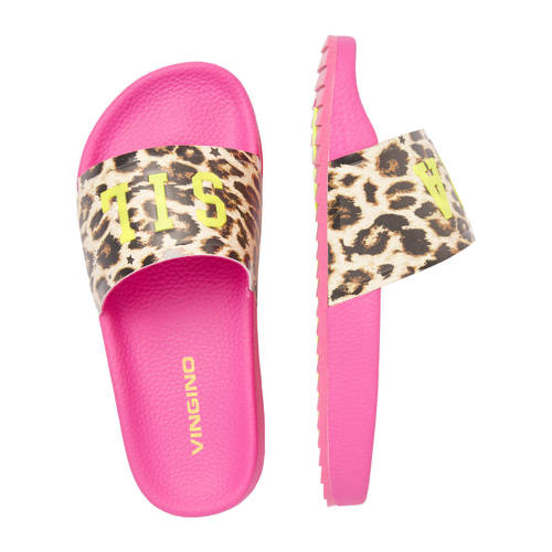 Vingino Elisa slippers met panterprint roze