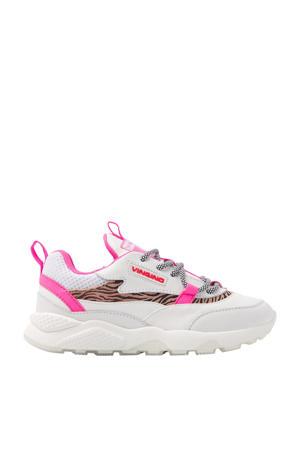 Marta  leren chunky sneakers wit/neon roze